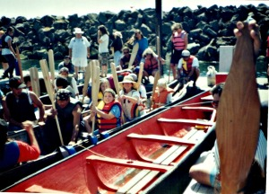 The author and her two daughters in the All Nations Canoe sometime in the 1990s