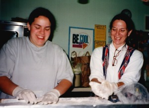 The author and her daughter making fry bread at a powwow, around the turn of the millennium.